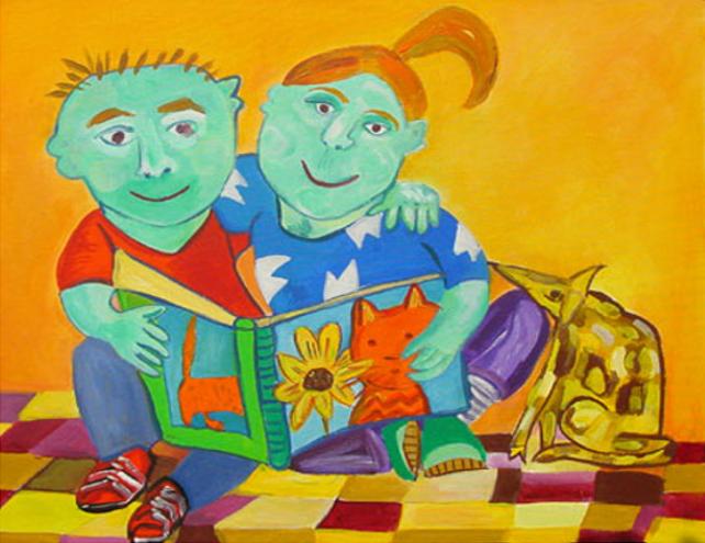 Lezende kinderen (Annelies van Biesbergen)